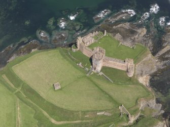 Oblique aerial view of Tantallon Castle, taken from the SSW.