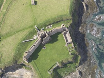 Oblique, almost vertical aerial view of Tantallon Castle, taken from the E.