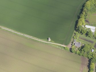 Oblique aerial view of Phantassie Dovecot, taken from the SW.