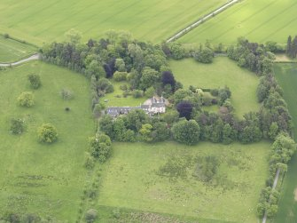 Oblique aerial view of Drummonie House, taken from the WNW.