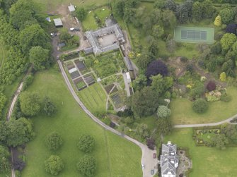 Oblique aerial view of Colquhalzie House, taken from the E.