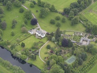 Oblique aerial view of Colquhalzie House, taken from the NNW.