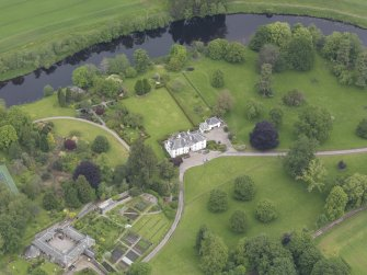 Oblique aerial view of Colquhalzie House, taken from the SSW.