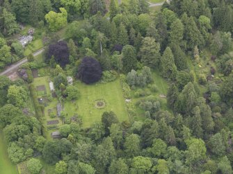 Oblique aerial view of Abercairny House, East Walled Garden, taken from the WNW.