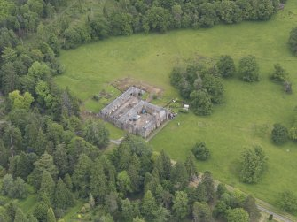 Oblique aerial view of Abercairny House stable block, taken from the WSW.