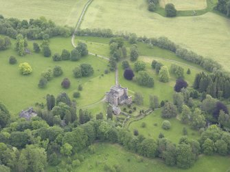 Oblique aerial view of Monzie Castle, taken from the W.