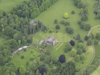 Oblique aerial view of Monzie Castle, taken from the S.