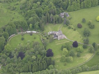 Oblique aerial view of Monzie Castle, taken from the SSE.