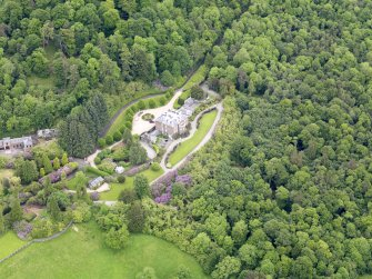 Oblique aerial view of Ochtertyre House, taken from the SW.