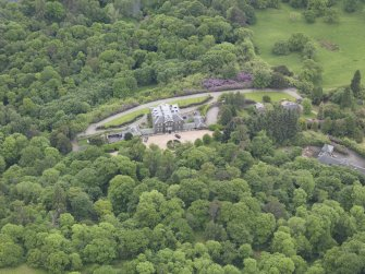 Oblique aerial view of Ochtertyre House, taken from the NNW.
