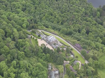 Oblique aerial view of Ochtertyre House, taken from the W.