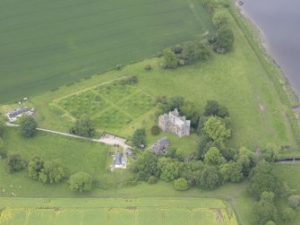 Oblique aerial view of Elcho Castle, taken from the SE.