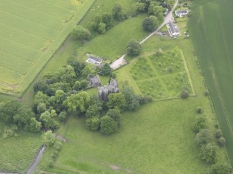 Oblique aerial view of Elcho Castle, taken from the N.