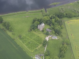 Oblique aerial view of Elcho Castle, taken from the SSW.