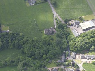 Oblique aerial view of Huntingtower Castle, taken from the NNE.