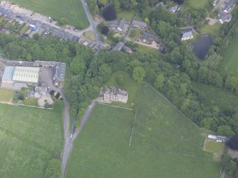 Oblique aerial view of Huntingtower Castle, taken from the S.