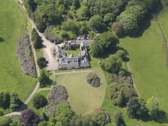 Oblique aerial view of Blair Adam Country House, taken from the E.