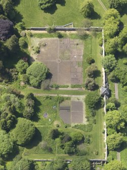 Oblique aerial view of Blair Adam Country House walled garden, taken from the E.