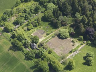 Oblique aerial view of Blair Adam Country House walled garden, taken from the NW.