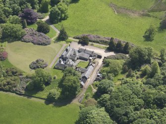Oblique aerial view of Blair Adam Country House, taken from the NW.