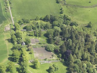 Oblique aerial view of Blair Adam Country House walled garden, taken from the W.