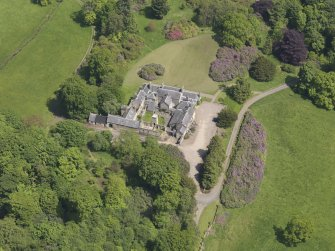 Oblique aerial view of Blair Adam Country House, taken from the WSW.