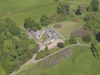 Oblique aerial view of Blair Adam Country House, taken from the S.