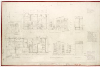 Plans and side elevations.  Including Upper and Ground floor plans. Title: Block III. Side Elevations