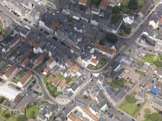 Oblique aerial view of Haddington centred on the George Hotel, taken from the SSE.