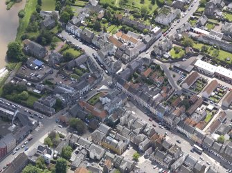 Oblique aerial view of Haddington centred on the George Hotel, taken from the NW.