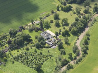 Oblique aerial view of Stevenson House, taken from the N.