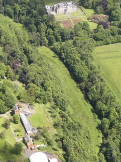 Oblique aerial view of Whittingehame Tower, taken from the SW.