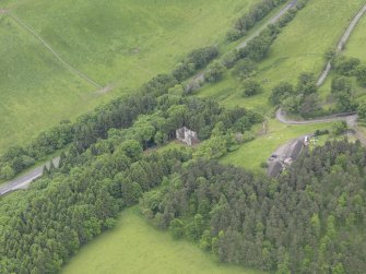 Oblique aerial view of Torwoodlee Tower, taken from the NE.