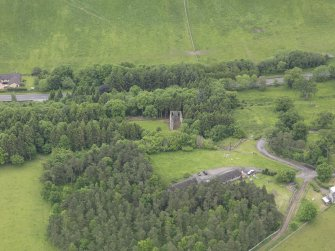 Oblique aerial view of Torwoodlee Tower, taken from the NNW.
