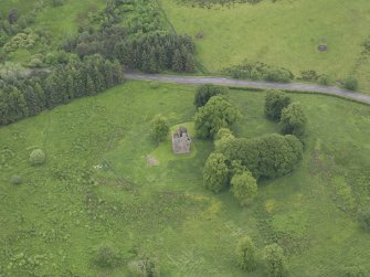 Oblique aerial view of Greenknowe Tower, taken from the NNW.