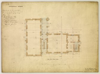 Drawings showing ground floor plan for Industrial School, Edinburgh, annotated with contract Edinburgh 21 January 1847. Titled: 'No2 Industrial School.' Inscribed: ' D.R. 24 Northumberland Street  Edinburgh 10th December 1846.'
