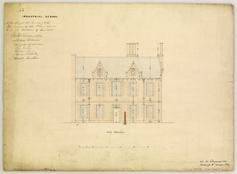 Drawing showing East elevation of Industrial School, Edinburgh, annotated with contract Edinburgh 21 January 1847. Titled: 'No6 Industrial School.' Inscribed: ' D.R. 24 Northumberland Street  Edinburgh 10th December 1846.'