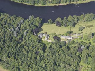 Oblique aerial view of Stobhall Castle, taken from the E.