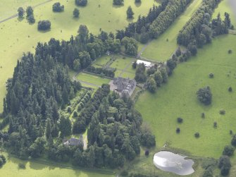 Oblique aerial view of Murthly Castle, taken from the NNW.