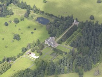 Oblique aerial view of Murthly Castle, taken from the SE