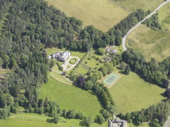 Oblique aerial view of Auchleeks House, taken from the SW.