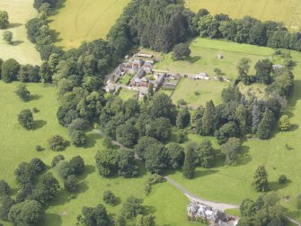 Oblique aerial view of Keithick House Stables, taken from the ESE.