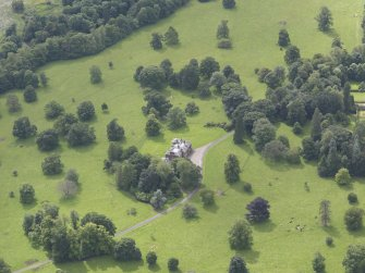 Oblique aerial view of Keithick House, taken from the ENE.