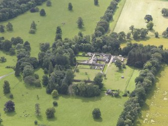 Oblique aerial view of Keithick House Stables, taken from the NE.