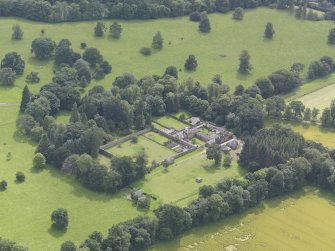 Oblique aerial view of Keithick House Stables, taken from the N.