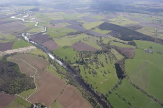 General oblique aerial view of the River Teith centred on Ochertyre House and policies, looking SSE.