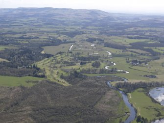 Oblique aerial view of the Endrick water with the Campsie Fell in the distance, looking SE.