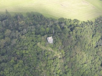 Oblique aerial view of Fatlips Castle, taken from the S.