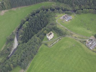 Oblique aerial view of Newark Castle, taken from the SW.