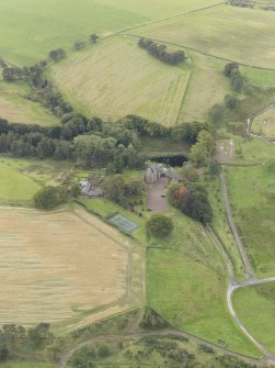 Oblique aerial view of Cakemuir Castle, looking to the SW.